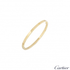 Cartier Yellow Gold Plain Love Bracelet SM Size 16 B6047516